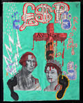 Avenge<br>Marker pen, Oil, Acrylic paint on canvas, 124 x 95 cm