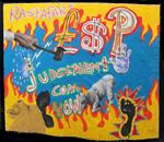 Judgement Com YoW<br>Marker pen, Oil, Acrylic paint on canvas, 123 x 109 cm