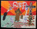 Thunder Rain<br>Marker pen, oil, acrylic & collage, 124 x 99 cm