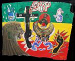 Jah, Lion, Inri<br>Oil, Acrylic paint and collage, 120 x 96 cm